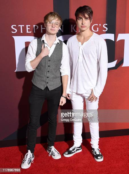Colby Brock and Sam Golbach arrive at the Premiere Of Warner Bros Pictures' Doctor Sleep at Westwood Regency Theater on October 29 2019 in Los...