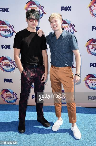 Colby Brock and Sam Golbach arrive on the blue carpet at TEEN CHOICE 2019 airing Sunday August 11 on FOX from Hermosa Beach CA