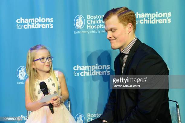 Colby Cave gets interviewed by Ella at Champions For Children's benefitting Boston Children's Hospital at Seaport World Trade Center November 27,...