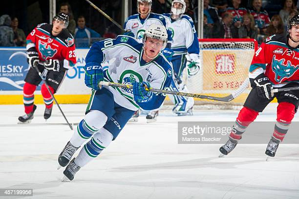 Colby Cave of Swift Current Broncos skates against the Kelowna Rocketson October 7 2014 at Prospera Place in Kelowna British Columbia Canada