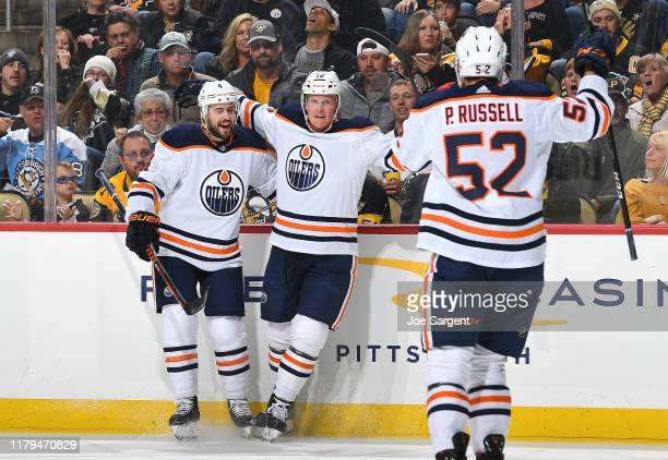 Colby Cave of the Edmonton Oilers celebrates his second period goal against the Pittsburgh Penguins at PPG PAINTS Arena on November 2, 2019 in...