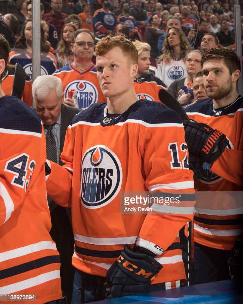 Colby Cave of the Edmonton Oilers during the game against the Dallas Stars on March 28 2019 at Rogers Place in Edmonton Alberta Canada