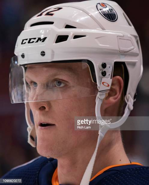 Colby Cave of the Edmonton Oilers during the pregame warm up prior to in NHL action against the Vancouver Canucks on January 2019 at Rogers Arena in...
