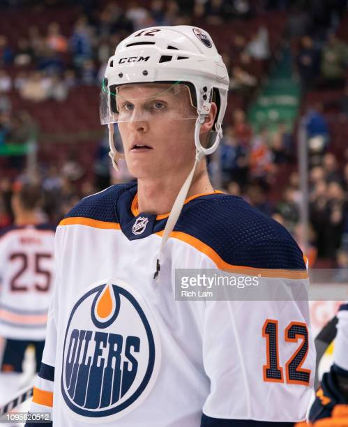 Colby Cave of the Edmonton Oilers during the pre-game warm up prior to in NHL action against the Vancouver Canucks on January 2019 at Rogers Arena in...