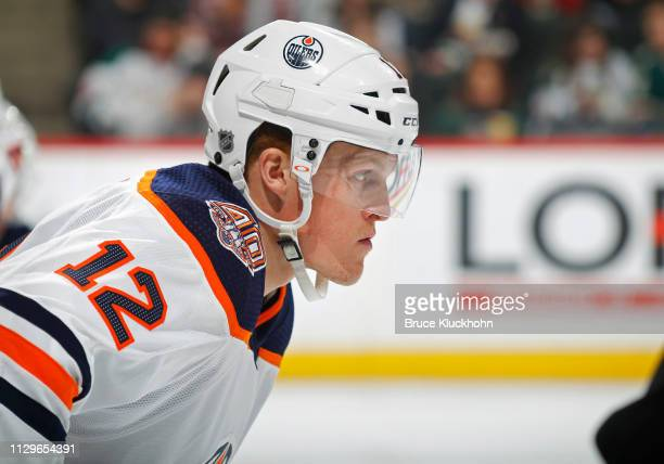 Colby Cave of the Edmonton Oilers lines up for a face-off during a game with the Minnesota Wild at Xcel Energy Center on February 7, 2019 in St....