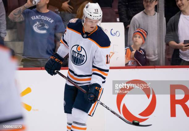 Colby Cave of the Edmonton Oilers plays with the puck during the pregame warm up prior to in NHL action against the Vancouver Canucks on January 2019...