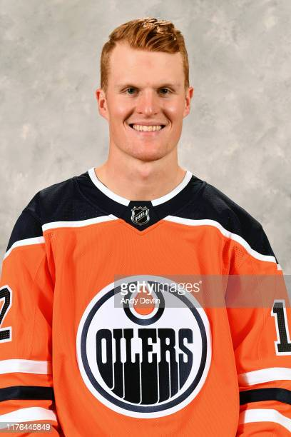 Colby Cave of the Edmonton Oilers poses for his official headshot for the 2019-2020 season on September 10, 2019 at Rogers Place in Edmonton,...
