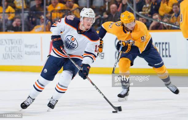 Colby Cave of the Edmonton Oilers skates against the Nashville Predators at Bridgestone Arena on February 25, 2019 in Nashville, Tennessee.