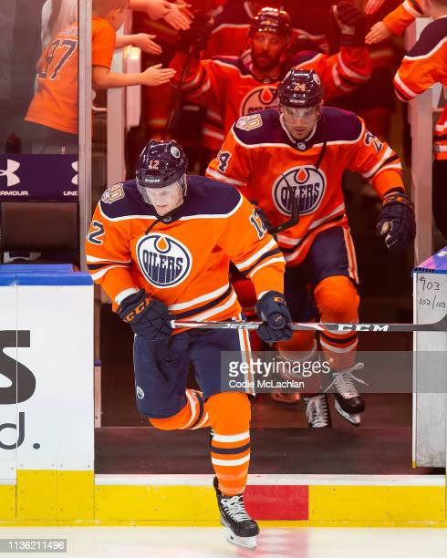 Colby Cave of the Edmonton Oilers skates against the New York Rangers at Rogers Place on March 11, 2019 in Edmonton, Alberta, Canada.