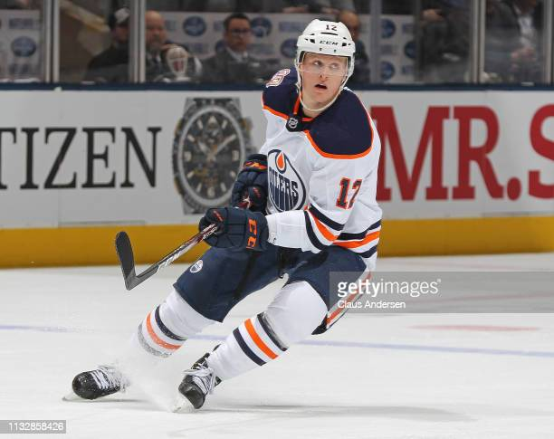 Colby Cave of the Edmonton Oilers skates against the Toronto Maple Leafs during an NHL game at Scotiabank Arena on February 27 2019 in Toronto...