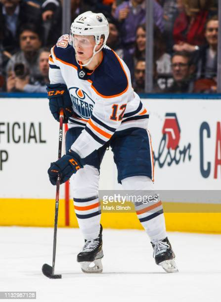 Colby Cave of the Edmonton Oilers skates against the Toronto Maple Leafs during the first period at the Scotiabank Arena on February 27, 2019 in...