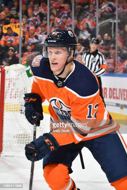 Colby Cave of the Edmonton Oilers skates during the game against the Calgary Flames on January 19, 2019 at Rogers Place in Edmonton, Alberta, Canada.