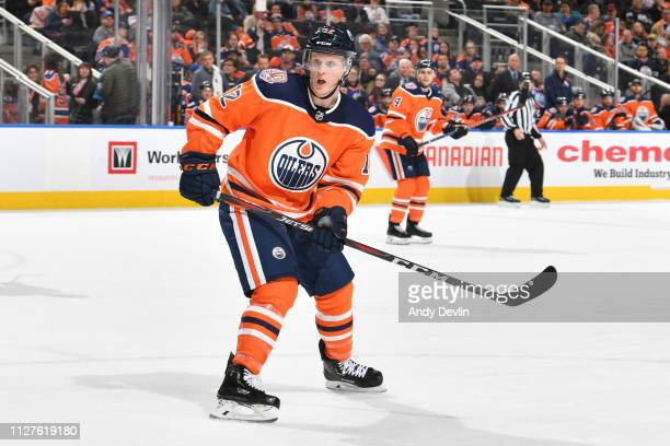 Colby Cave of the Edmonton Oilers skates during the game against the Carolina Hurricanes on January 20, 2019 at Rogers Place in Edmonton, Alberta,...