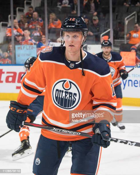 Colby Cave of the Edmonton Oilers skates during the game against the San Jose Sharks on February 9, 2019 at Rogers Place in Edmonton, Alberta, Canada.