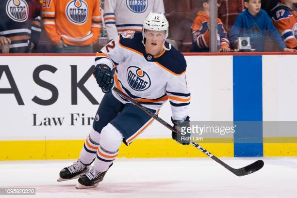 Colby Cave of the Edmonton Oilers skates during the pre-game warm up prior to in NHL action against the Vancouver Canucks on January 2019 at Rogers...