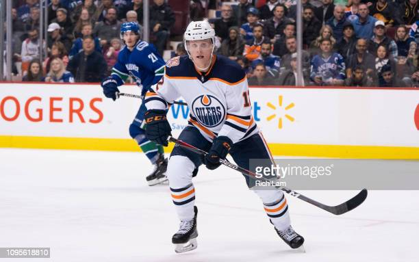 Colby Cave of the Edmonton Oilers skates in NHL action against the Vancouver Canucks on January 2019 at Rogers Arena in Vancouver, British Columbia,...