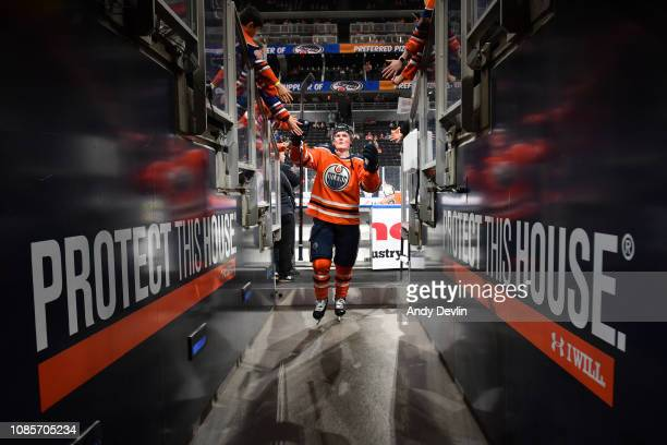 Colby Cave of the Edmonton Oilers walks to the dressing room prior to the game against the Carolina Hurricanes on January 20, 2019 at Rogers Place in...