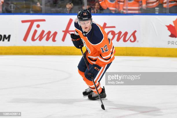 Colby Cave of the Edmonton Oilers warms up prior to the game against the Calgary Flames on January 19, 2019 at Rogers Place in Edmonton, Alberta,...