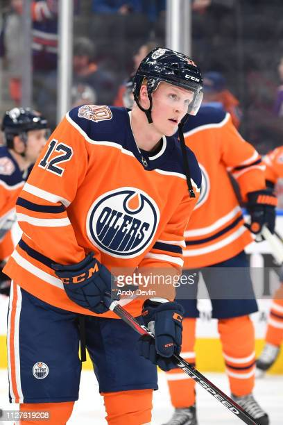 Colby Cave of the Edmonton Oilers warms up prior to the game against the Carolina Hurricanes on January 20, 2019 at Rogers Place in Edmonton,...