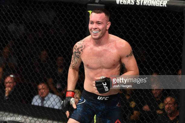 Colby Covington battles Robbie Lawler in their welterweight bout during the UFC Fight Night event at the Prudential Center on August 3 2019 in Newark...