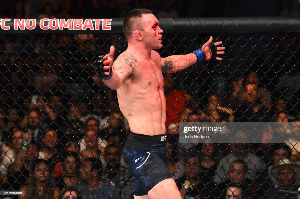 Colby Covington celebrates after defeating Demian Maia of Brazil in their welterweight bout during the UFC Fight Night event inside the Ibirapuera Gymnasium on October 28, 2017 in Sao Paulo, Brazil.
