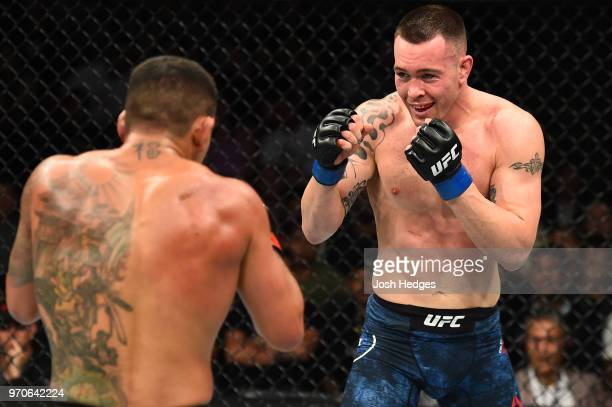 Colby Covington faces Rafael Dos Anjos of Brazil in their interim welterweight title fight during the UFC 225 event at the United Center on June 9...