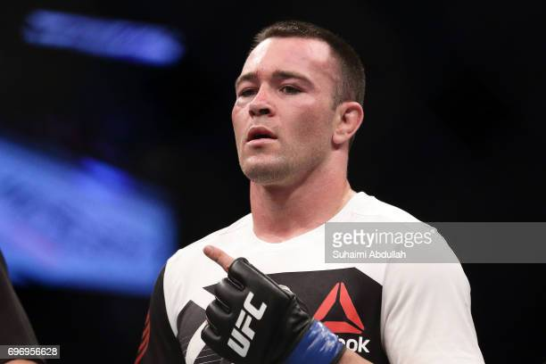 Colby Covington of United States gestures after defeating Dong Hyun Kim of South Korea in the Welterweight Bout during UFC Singapore Fight Night at...