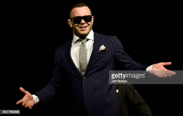 Colby Covington poses for photos during the UFC press conference inside Barclays Center on April 6 2018 in Brooklyn New York