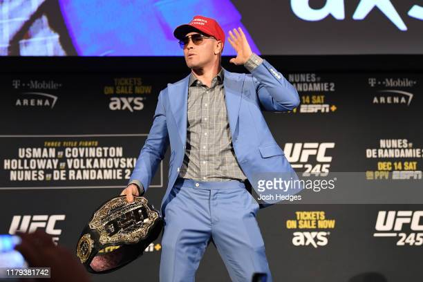 Colby Covington poses on stage during the UFC 245 press conference at the Hulu Theatre at Madison Square Garden on November 1 2019 in New York New...