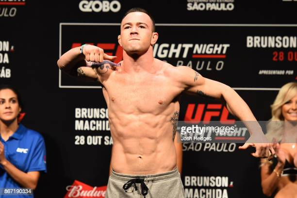Colby Covington poses on the scale during the UFC Fight Night Weighin inside the Ibirapuera Gymnasium on October 27 2017 in Sao Paulo Brazil