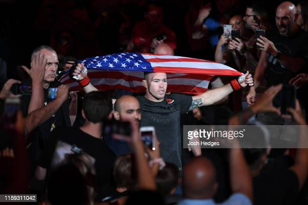 Colby Covington prepares to enter the Octagon prior to his welterweight bout against Robbie Lawler during the UFC Fight Night event at the Prudential...