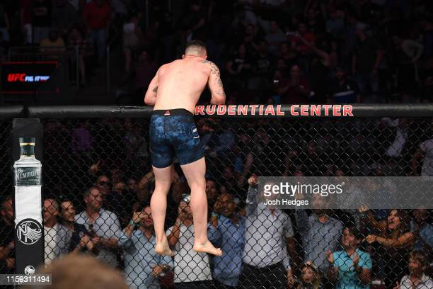 Colby Covington reacts after the conclusion of his welterweight bout against Robbie Lawler during the UFC Fight Night event at the Prudential Center...