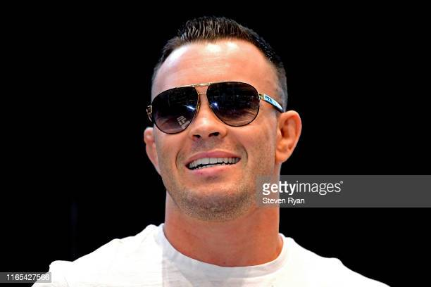 Colby Covington reacts during the UFC Fight Night Open Workouts at Prudential Center on July 31 2019 in Newark New Jersey