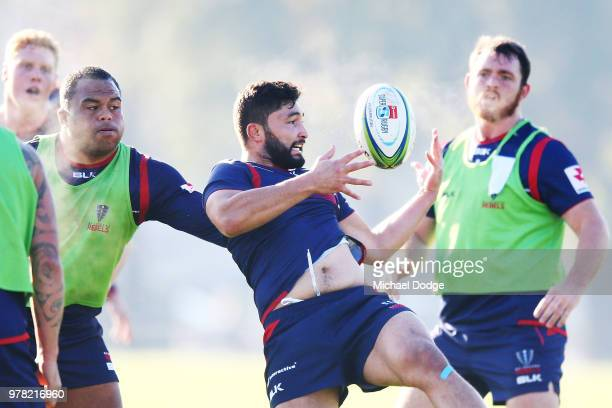 Rebels Head Coach David Wessels shouts speaks to his players during a Melbourne Rebels Super Rugby training session at Gosch's Paddock on June 19...