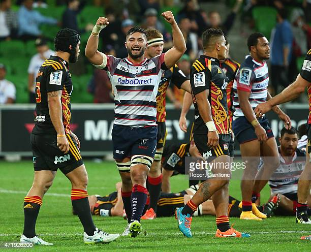 Colby Faingaa of the Rebels celebrates after the Rebels defeated the Chiefs during the round 12 Super Rugby match between the Rebels and the Chiefs...