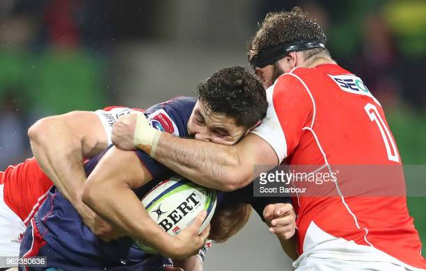Colby Fainga'a of the Rebels is tackled by Craig Millar of the Sunwolves during the round 15 Super Rugby match between the Rebels and the Sunwolves...