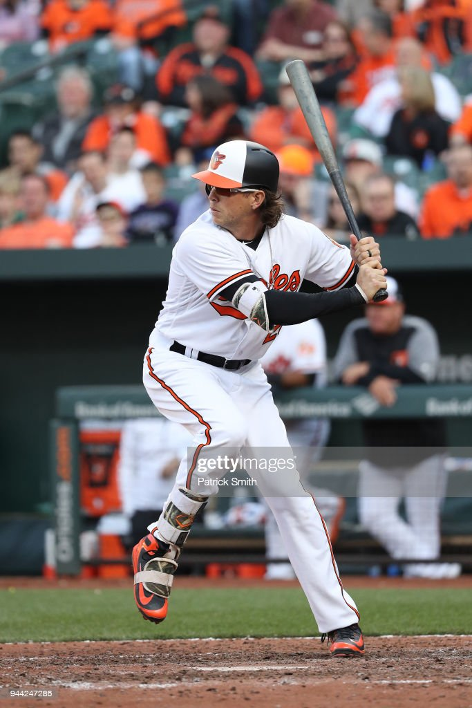 Colby Rasmus of the Baltimore Orioles bats against the Minnesota Twins in their Opening Day game at Oriole Park at Camden Yards on March 29, 2018 in Baltimore, Maryland.