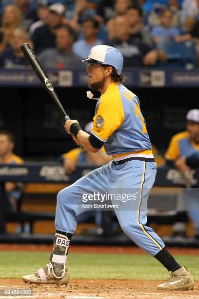 Colby Rasmus of the Rays hits a laser out to the infield during the MLB regular season game between the Oakland Athletics and Tampa Bay Rays on June...
