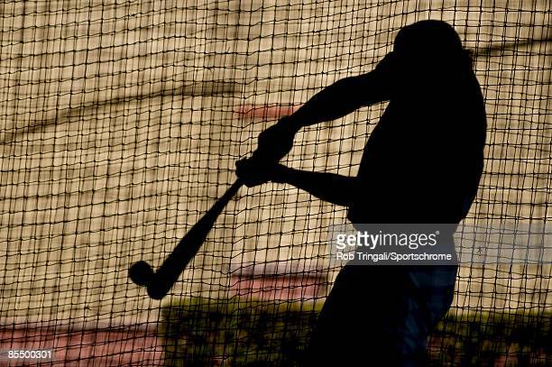 Colby Rasmus of the St Louis Cardinals takes batting practice before a game against the Washington Nationals during a spring training game at Roger...