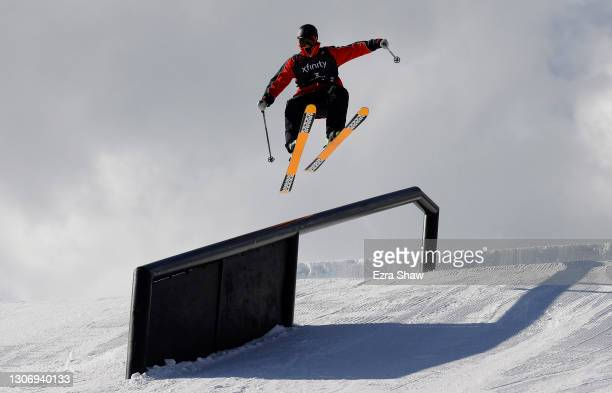 Colby Stevenson of he United States takes a warm up run before competing in the men's freeski slopestyle finals during Day 4 of the Aspen 2021 FIS...