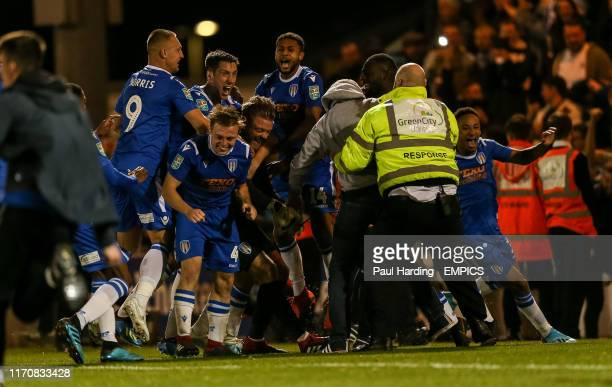Colchester United celebrate winning the penalty shoot out Colchester United v Tottenham Hotspur - Carabao Cup - Third Round - JobServe Community...