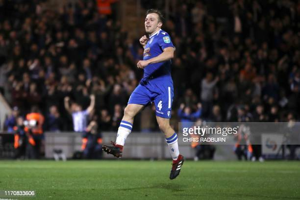 Colchester United's English midfielder Tom Lapslie during the English League Cup third round football match between Colchester United and Tottenham...