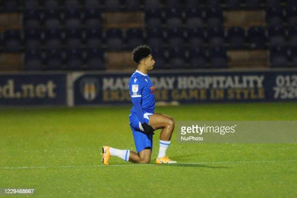 Colchesters Courtney Senior takes a knee before the Sky Bet League 2 match between Colchester United and Stevenage at the Weston Homes Community...