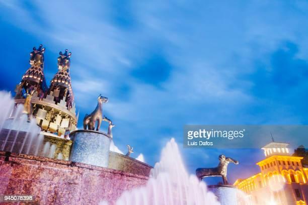 Colchis Fountain illuminated at night