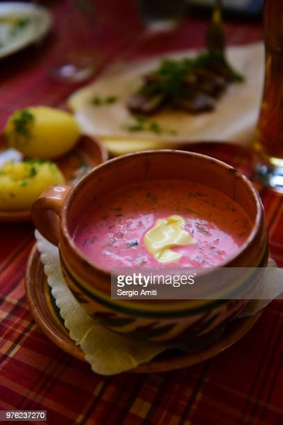 cold beet soup (saltibarsciai) - lithuania stock pictures, royalty-free photos & images