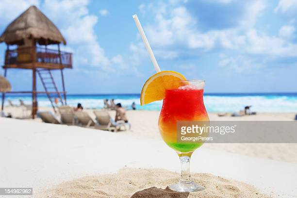cold cocktail on a tropical beach - mayan riviera stock photos and pictures