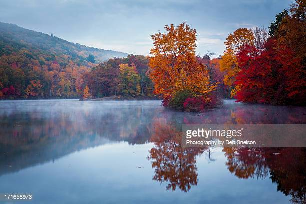 cold dawn at hidden lake - pennsylvania stock pictures, royalty-free photos & images