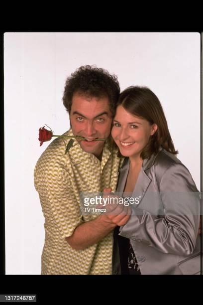 Cold Feet actors James Nesbitt and Helen Baxendale in character as Adam Williams and Rachel Bradley, circa 1998.