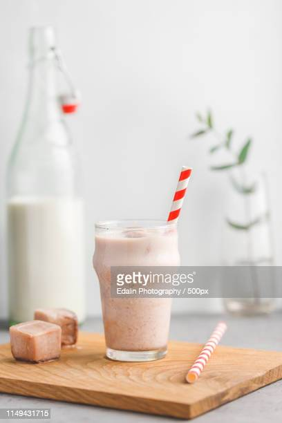 Cold Fitness Shake Is Made From Milk, Protein, Cocoa And Ice Cubes The Concept Of A Healthy