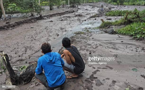 Cold lava from Mount Agung eruption flows to Telaga Waja river in Pejeng village of Karangasem regency Bali Indonesia on November 30 2017 The flow...